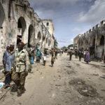 Zentrum der Hauptstadt Mogadischu: die zerfallenen und während des Bürgerkrieges zerstörten Markthallen.